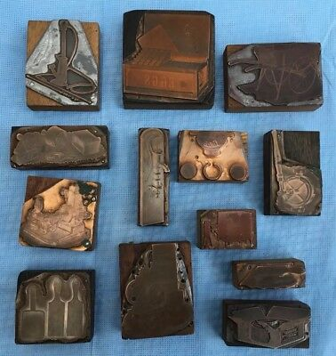 Vintage Copper Metal Printing Blocks For Transport, Industry,handcart,Machine