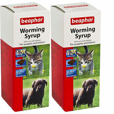 Beaphar Worming Syrup for Puppies & Kittens 45ml kills Roundworm - 2 Pack Deal