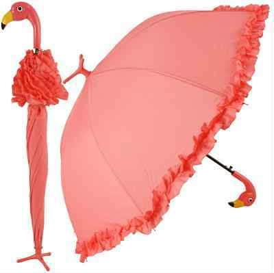 Fabulous Pink Flamingo Ruffle Frilly Trim Umbrella On Stand-Very Mary Poppins