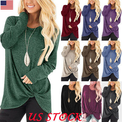 USA Womens Tunic Tops Long Sleeve Casual Loose Tops Blouse Fashion Shirt T-Shirt