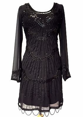 UK16 BLACK FLAPPER 1920s GATSBY DRESS CHARLESTON SEQUIN VINTAGE PARTY COSTUME