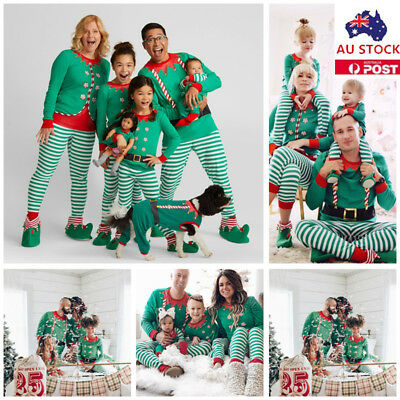 Family Matching Christmas Pajamas PJs Sets Xmas Striped Sleepwear Nightwear