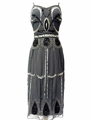 UK16 GREY FLAPPER 1920s GATSBY DRESS CHARLESTON SEQUIN VINTAGE PARTY COSTUME