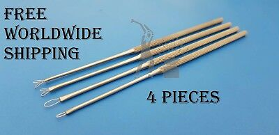 Ear Cleaner Loop Ear Wax Remover Ear Loop Curettes ENT Medical Surgical 4 Pieces