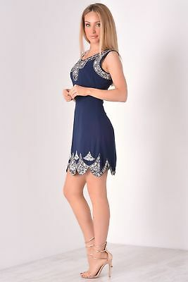UK16 NAVY FLAPPER 1920s GATSBY DRESS CHARLESTON SEQUIN VINTAGE PARTY COSTUME