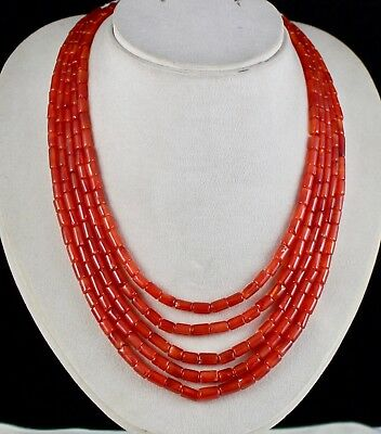 Natural Carnelian Beads Fancy Tube 5 Line 492 Carats Gemstone Necklace