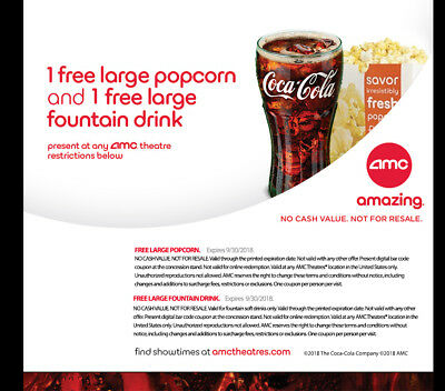 Amc Theatres Voucher For 1 Free Large Fountain Drink Large Popcorn