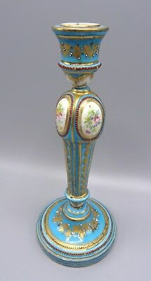 Beautiful 25 cm Sevres Porcelain Candlestick with Encrusted Jewels