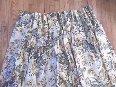 """French Country Pleated Curtain Pair Floral  29"""" x 82"""" Beautiful Custom"""