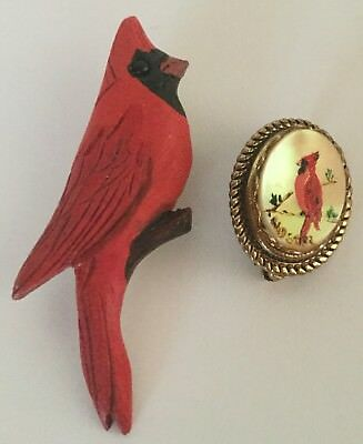 Lot of Two Vintage Cardinal Bird Figural Painted Pin Brooch MOP and Hand Carved