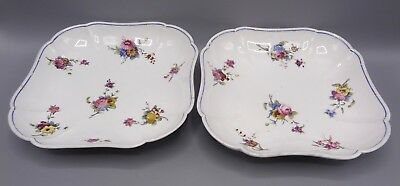 Pair of Hand Painted Sevres Style Square Porcelain Dishes