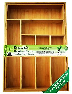 EXPANDABLE Bamboo Silverware Organizer 6-8 Slots Adjustable Drawer Inserts with