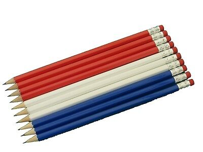 10 Red White & Blue Mix Personalised Hb Pencils In Gold Foil Free Uk Post