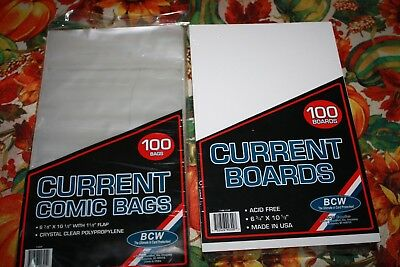 100 BCW Current Comic Book Bags and Boards - New and Sealed!!
