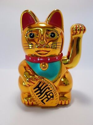 "Gold Waving Money Cat (Maneki Neko) 130mm ""Good Luck"" (Post or Local Pickup)"