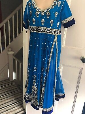 Womens Ladies Asian Pakistani Indian Outfit Wedding Party Dress A-line Churidaar