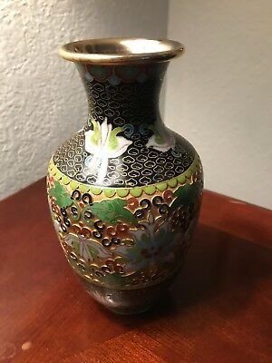"""Amazing Vintage Chinese Cloisonne Vase 8 3/8"""" High, Incredible Detail"""