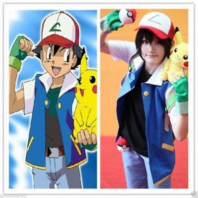 Pokemon  Ash Ketchum Trainer Costume Cosplay Include Shirt Jacket & Gloves & Hat