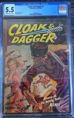 Cloak and Dagger #1 Ziff Davis 1952 Off White/White Pages CGC 5.5