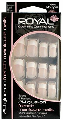 Royal 24 Glue On French Manicure False Nail Tips with 3g Glue