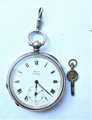 NO RESERVE HM1914 Kay's Challenge Silver Pocket Watch Vintage Antique