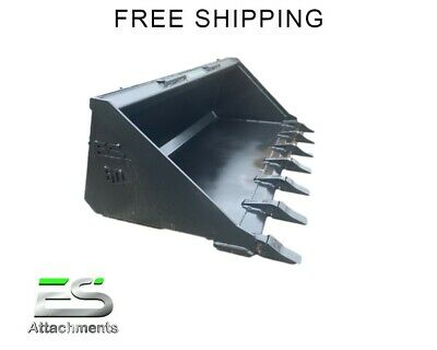 """Brand New 60"""" Tooth Bucket Powder Coated For Skid Steer Loader - Free Shipping"""