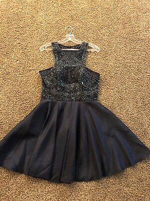 WOW! Women's Sherri Hill Navy Formal Homecoming Prom Dress, Style 51302, Size 10