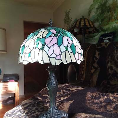 Vintage stained glass lamp shade vintage leaded crafted style vintage stained leaded glass lamp aloadofball Gallery