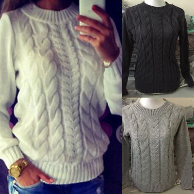 Womens Fall Knitted Long Sleeve Cable Knit Jumper Knitted Sweater Tops USA