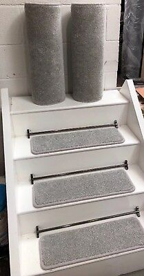 14 CARPET STAIR TREADS, BLEACH CLEANABLE, 2 MATCHING MATS, 60cm X 20cm FREE TAPE
