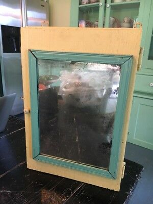 Antique Painted Hanging Wall Cupboard  Mirror Shabby Chic