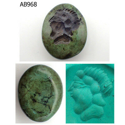 Rare Stunning Old Intaglio Greek King Face Turquoise Stone Bead #968