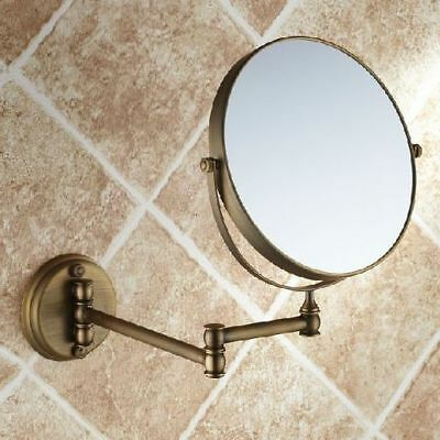 Magnifying Mirror Bathroom Makeup Mirror Folding Shave Dual Side Antique Brass