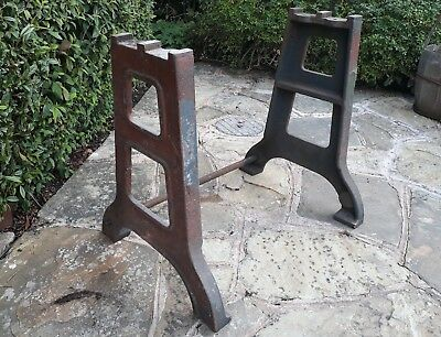 vintage cast iron Industrial table legs - With Supporting Bar and top