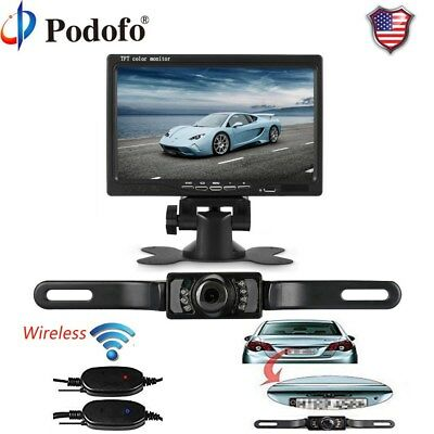"7"" TFT LCD Car Rear View Backup Monitor+Wireless Parking Camera Night Vision Kit"