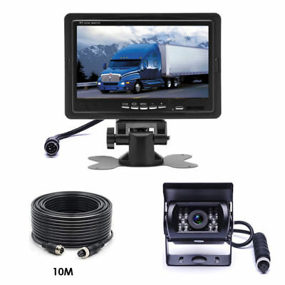 "7"" Rear View Monitor + RV Truck Bus Van Car IR Backup Camera Night Vision System"