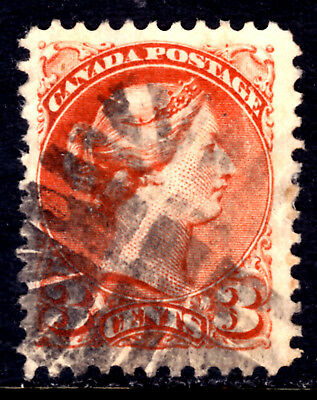 CANADA LACELLE-1614 FANCY CORK on #37ii 3c DULL RED, 1872 PERF11½x12 SQ, F
