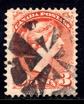 CANADA LACELLE-1642 FANCY CORK on #37ii 3c DULL RED, 1872 PERF11½x12 SQ, F