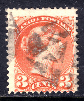 CANADA LACELLE-1674 FANCY CORK on #37 3c ORANGE RED, 1873 PERF12 SQ, F