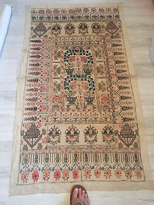 """Antique Hand Embroidery Folk Art Botanical Tapestry Wall Art  Table Cloth ~ 57"""""""