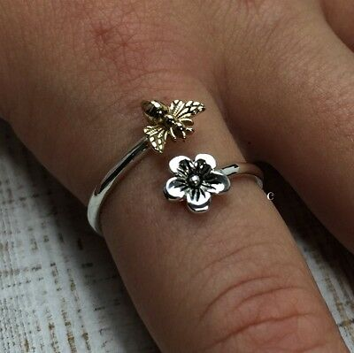 Sterling Silver Adjustable Flower and Bee Ring