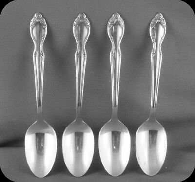 """Lot of Four Rogers Bros Silvery Mist Demitasse Spoons 4 1/2"""""""