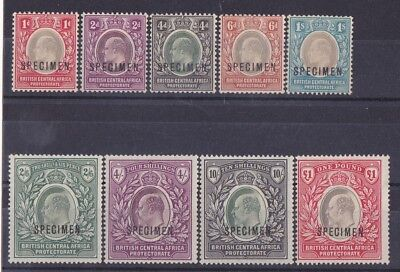 BRITISH CENTRAL AFRICA 1903 KEVII set 1d - £1 SPECIMEN