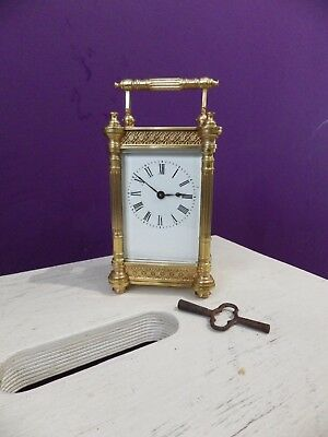 French Carriage Clock With a Stunning Rare Case Style Fully Restored 1900s