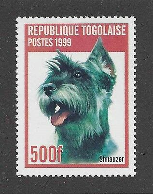 Dog Art Head Study Portrait Postage Stamp MINIATURE SCHNAUZER Togo 1999 MNH
