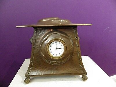 English  Solid Copper Arts And Crafts Clock Hand Made Very Rare Clock