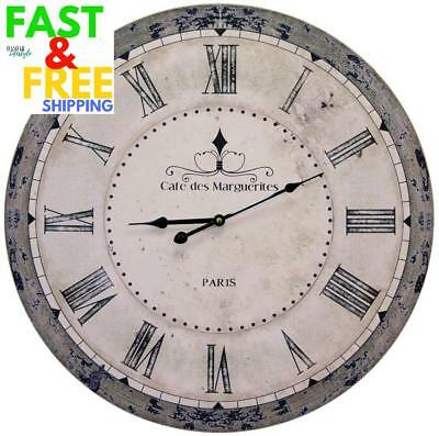 Extra Large 60Cm Vintage Antique Paris Cafe Retro Wall Clock Shabby Chic Round