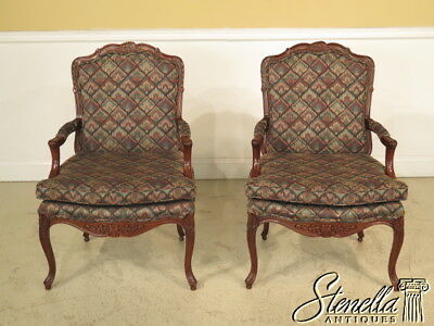 23271E: Pair CENTURY French Louis XIV Open Arm Fauteuil Open Arm Chairs