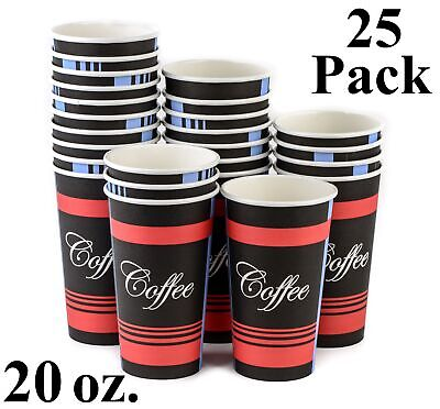 25 Pack 20 Oz. Eco Friendly Poly Paper Disposable Hot Tea Coffee Cups No Lids