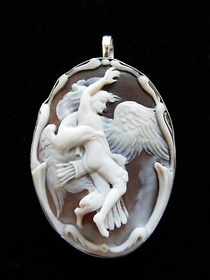 Museum quality Master Hand carved Sardonyx cameo set in Italian silver-signed by